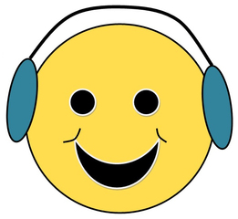 Smiley #27 mit Kopfhörer - Smiley, Zeichen, Zeichnung, Illustration, Button, Bewertung, Symbol, Emotion, Gefühl, Kopfhörer, Musik, hören, Wörter mit ö
