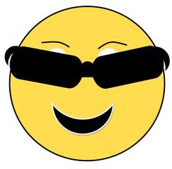 Smiley #29 - Smiley, Zeichen, Zeichnung, Illustration, Button, Bewertung, Symbol, Emotion, Gefühl, Sonnenbrille, Sonne, Brille, Angeber