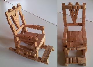 Schaukelstuhl - Stuhl, Bestalarbeit, basteln, Klammern, Holzklammern, Wäscheklammern, Schaukelstuhl