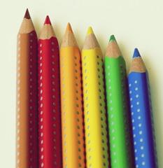 Buntstifte - sechs, Stift, Stifte, Buntstifte, Utensil, Farbstift, Farbe, farbig, Schreibgerät, Zeichengerät, Holz, Mine
