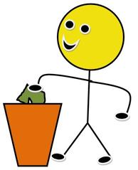 Mülldienst farbig - Piktogramm, Klassendienst, Dienst, Symbol, Zeichnung, Illustration, Mülldienst, Müll, Papier, wegwerfen, reinigen, Smiley, Klassenraum