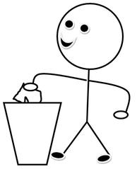 Mülldienst s/w - Piktogramm, Klassendienst, Dienst, Symbol, Zeichnung, Illustration, Mülldienst, Müll, Papier, wegwerfen, reinigen, Smiley, Klassenraum