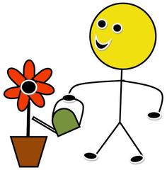 Blumendienst farbig - Piktogramm, Klassendienst, Dienst, Symbol, Zeichnung, Illustration, Blumen, Blumentopf, gießen, Gießkanne, Smiley, Wasser