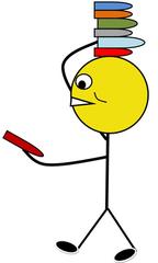 Bücherdienst farbig - Bücherdienst, Klassendienst, Buch, Bücher, verteilen, austeilen, Illustration, Zeichnung, Piktogramm, Smiley, Klassenraum