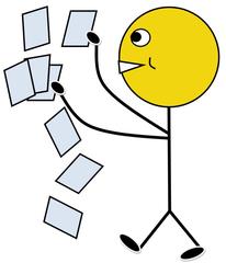 Material austeilen farbig - Klassendienst, verteilen, austeilen, Zettel, Arbeitsblatt, Arbeitsblätter, Kopien, Illustration, Zeichnung, Piktogramm, Smiley, Klassenraum