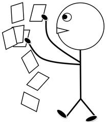 Material austeilen s/w - Klassendienst, verteilen, austeilen, Zettel, Arbeitsblatt, Arbeitsblätter, Kopien, Illustration, Zeichnung, Piktogramm, Smiley, Klassenraum
