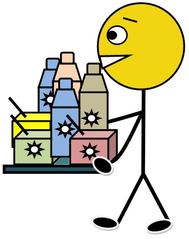 Getränkedienst farbig - Klassendienst, Getränkedienst, Getränk, Milch, Kakao, Saft, Flasche, trinken, Tetrapack, tragen, Illustration, Zeichnung, Piktogramm, Smiley, Klassenraum