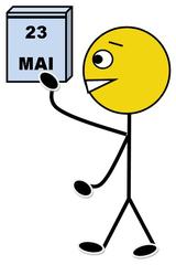 Kalenderdienst farbig - Klassendienst, Kalenderdienst, Kalender, Datum, abreißen, Tag, Monat, Illustration, Zeichnung, Piktogramm, Smiley, Klassenraum