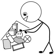 Aufräumen - Klassendienst, aufräumen, Ordnung, Spielecke, Bücherecke, Spielzeug, Illustration, Zeichnung, Piktogramm, Smiley, Klassenraum