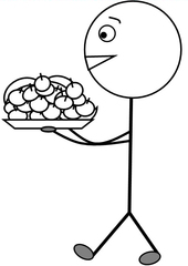 Obstdienst s/w - Klassendienst, Obstdienst, Obst, Früchte, Äpfel, Apfel, Banane, tragen, Tablett, Illustration, Zeichnung, Piktogramm, Smiley, Klassenraum
