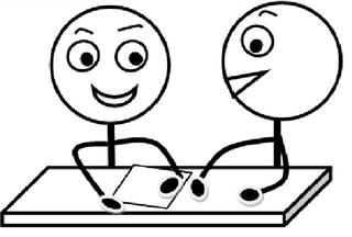 Partnerarbeit s-w - Partnerarbeit, Sozialform, Arbeitsform, Dialog, Gespräch, Gedankenaustausch, sprechen, reden, austauschen, zwei, Impulskarte, Stationenarbeit, Zeichnung, Illustration, Piktogramm