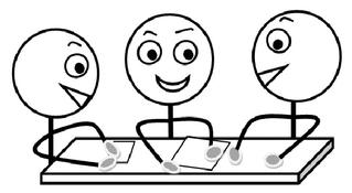 Gruppenarbeit s-w - Gruppenarbeit, Sozialform, Arbeitsform, Dialog, Gespräch, Gedankenaustausch, sprechen, reden, austauschen, drei, Impulskarte, Stationenarbeit, Zeichnung, Illustration, Piktogramm
