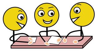 Gruppenarbeit farbig - Gruppenarbeit, Sozialform, Arbeitsform, Dialog, Gespräch, Gedankenaustausch, sprechen, reden, austauschen, drei, Impulskarte, Stationenarbeit, Zeichnung, Illustration, Piktogramm