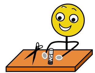 Aufforderung: Schere und Kleber bereithalten, farbig - Hinweis, Impulskarte, Illustration, Zeichnung, Aufforderung, Schere, Kleber, Klebstoff, Tisch, Smiley