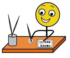 Aufforderung: Malsachen bereitlegen, farbig - Hinweis, Impulskarte, Illustration, Zeichnung, Aufforderung, Tuschkasten, Malkasten, Farbe, Farben, Pinsel, Wasser, Becher, Tisch, Smiley
