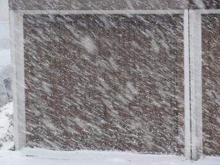 Schneefall #2 - Schnee, Schneefall, Wind, Sturm, Schneeflocken, Wasser, Niederschlag, Winter, weiß, weiße Pracht, braun, Garage, Garagentor