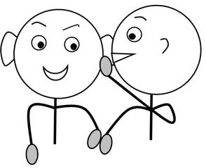 Klassenregel: Flüstern  s/w - Klassenregel, Disziplin, Symbol, Unterricht, flüstern, leise, sprechen, Schultergespräch, Zeichnung, Impulskarte, Smiley, Illustration