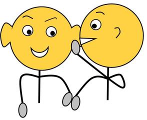 Klassenregel: Flüstern, farbig - Klassenregel, Disziplin, Symbol, Unterricht, flüstern, leise, sprechen, Schultergespräch, Zeichnung, Impulskarte, Smiley, Illustration