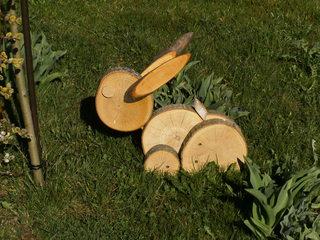 Hase aus Baumscheiben - Hase, Baumscheiben, Ostern, Dekoration, Osterhase, basteln, sägen, schleifen, werken, Holzarbeit