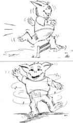 Minimonster tanzen/springen - Musikunterricht, Minimonster, Liederarbeitung, Lied, Ungetüm, Ungeheuer, Geschöpf, phantastische Kreatur, Mythen, Märchen, Mythologie, tanzen, springen
