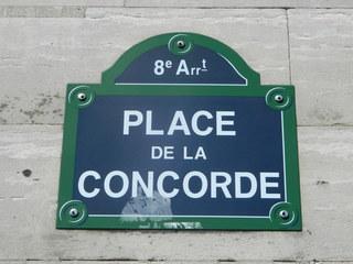 Place de la Concorde - Paris, Platz, place, place de la Concorde, Straßenschild, panneau