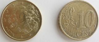 10 Cent Münze Italien - Venus, Geburt der Venus, Gemälde, Botticelli, Maler, Uffizien, Gott, Göttin, Münze, Italien, Italia, 10 Cent