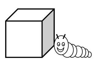 Präposition: neben - next to - beside - à  coté de                          - Raupe, Würfel, kriechen, Präposition, preposition, préposition, neben, next to, beside