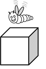 Präposition: über  / above / au-dessus de  - Raupe, Würfel, kriechen, Präposition, preposition, préposition, über, oberhalb von, above, au dessus de