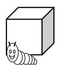 Präposition: vor, in front of, devant - Raupe, Würfel, kriechen, Präposition, preposition, préposition, vor, in front of, devant