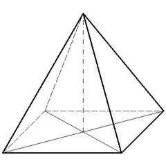 Quadratische Pyramide - Mathematik, Geometrie, Körper, Körperdarstellung, Pyramide, quadratisch, Schrägriss, Ecke, Kante, Schrägbild, Volumen, Rauminhalt, Oberfläche, Fläche