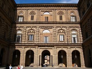 Palazzo Pitti - Florenz, Kunst, Architektur, Museum, Renaissance, Bogen, Innenhof, Fassade