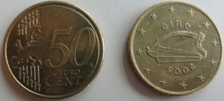 Irländische Münze - Münze, Harfe, Euro, 50 Cent, kelische Harfe, Kelten, Symbol