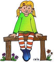 Kind - Mädchen, Kind, blond, Stiefel, Streifen, Pullover