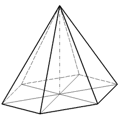 Regelmäßige sechsseitige Pyramide(2) - Mathematik, Geometrie, Pyramide, Körper, spitz, sechsseitig, Schrägriss, Schrägbild, Ecke, Kante, Volumen, Rauminhalt, Oberfläche, Fläche