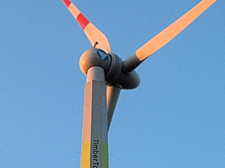 Windrad 'Timber Tower' #2 - Technisches Bauwerk, regenerative Energie, Windrad, Energie, Energiegewinnung, Elektrizität, Kraftwerk, Windkraft, Rotor, Strom, Perspektive, erneuerbare Energie, Windkraftwerk, Physik, Holz, Holzkonstruktion, Gondel, Flügel, Wind
