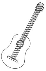 Gitarre - Gitarre, Musik, Musikinstrument, Saiteninstrument, Saiten, Klang, zupfen, spielen, Noten, guitar, Anlaut G, Zeichnung