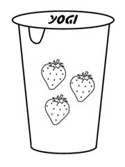 Yoghurt - Yoghurt, Jogurt, Joghurt, Yoghurtbecher, Becher, Dessert, Nachtisch, Milch, Milchprodukt, essen, Zwischenmahlzeit, Erdbeere, Erdbeergeschmack, Anlaut Y, Anlaut J, Zeichnung