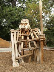 Skulptur aus Holz - Holzskulptur, Skulptur, Tier, Affe, Kunst, Holz
