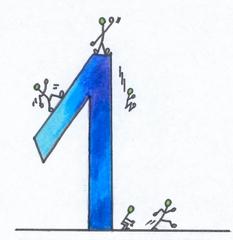 Ziffer - Eins bunt - Ziffer, Eins, Strichmännchen, Zahlenraum Zehn, Sehr Gut, blau, kalte Farben, Anlaut Ei, Illustration