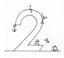 Ziffer Zwei S/W - Ziffer, Zwei, Illustration, Strichmännchen, Anlaut Z, Wörter mit ei