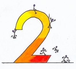Ziffer Zwei bunt - Ziffer, Zwei, Strichmännchen, Illustration, Gelb, Orange, Rot, warme Farben, Anlaut Z, Wörter mit ei