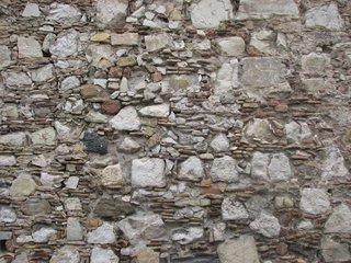 Mauerwerk der romanischen Bauten in Taormina - Mauer, Mauerwerk, gemauert, romanisch, Sizilien, Oberfläche, Stuktur, Mauerwerk