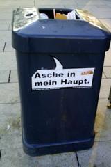Mülleimer-Spruch 8 - Abfalleimer, Müll, Stadtreinigung, Abfallproblem, lustig, Witz, Sprachwitz, Slogan, Werbung, Humor, Sprechblase, Werbesprache