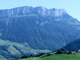 Appenzeller Land - Appenzell, Panorama, Schweiz, Berge, Alpen, Felsen, Weide, Wiese, Wald, schroff, hoch, Gleitschirme, Gleitschirmflieger, fliegen, blau, grün, Landschaft