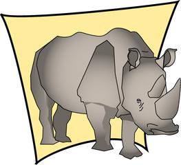 Rhinozeros - Rhinozeros, Zootier, Tier, Wildtier, Nashorn, grau, stark, groß, schwer, Horn, Anlaut N, Säugetier, gepanzert, Illustration