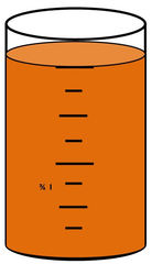 Zylinder mit Flüssigkeit #9 - Messbecher, Zylinder, Standzylinder, messen, Maß, Liter, Kubikzentimeter, abmessen, Inhalt, Volumen, Menge, Skala, Einteilung, Zahlenstrahl, Bruchteil, Bruch, Umwandlung, ablesen, Maßumwandlung, Einheit, Hohlmaß, Gefäß, Flüssigkeitsmaß