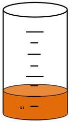 Zylinder mit Flüssigkeit #8 - Messbecher, Zylinder, Standzylinder, messen, Maß, Liter, Kubikzentimeter, abmessen, Inhalt, Volumen, Menge, Skala, Einteilung, Zahlenstrahl, Bruchteil, Bruch, Umwandlung, ablesen, Maßumwandlung, Einheit, Hohlmaß, Gefäß, Flüssigkeitsmaß