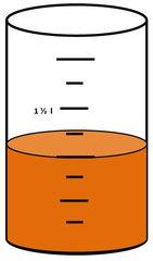 Zylinder mit Flüssigkeit #6 - Messbecher, Zylinder, Standzylinder, messen, Maß, Liter, Kubikzentimeter, abmessen, Inhalt, Volumen, Menge, Skala, Einteilung, Zahlenstrahl, Bruchteil, Bruch, Umwandlung, ablesen, Maßumwandlung, Einheit, Hohlmaß, Gefäß, Flüssigkeitsmaß