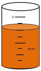 Zylinder mit Flüssigkeit #5 - Messbecher, Zylinder, Standzylinder, messen, Maß, Liter, Kubikzentimeter, abmessen, Inhalt, Volumen, Menge, Skala, Einteilung, Zahlenstrahl, Bruchteil, Bruch, Umwandlung, ablesen, Maßumwandlung, Einheit, Hohlmaß, Gefäß, Flüssigkeitsmaß