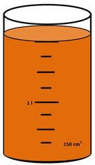 Zylinder mit Flüssigkeit #4 - Messbecher, Zylinder, Standzylinder, messen, Maß, Liter, Kubikzentimeter, abmessen, Inhalt, Volumen, Menge, Skala, Einteilung, Zahlenstrahl, Bruchteil, Bruch, Umwandlung, ablesen, Maßumwandlung, Einheit, Hohlmaß, Gefäß, Flüssigkeitsmaß